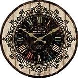 アンティーク風 かっこいい ブラックが基調の 木製掛け時計 バーや カフェなどにも