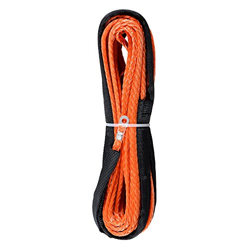 14-x-50-Orange-Synthetic-Winch-Line-Cable-Rope-6400LBs-Sheath-Thimble-ATV-UTV-Truck-Boat-Replacement