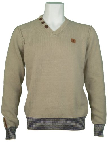 New Kangol Mens V-Neck Neck Knitted Jumper, In Cement. Size X-Large - Style Bing - K604390
