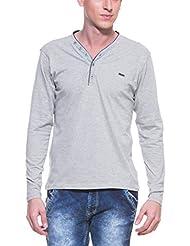 Zovi Men's Cotton Dove Grey Melange Henley T-shirt With Contrast Deep Purple Lining (11244402701)