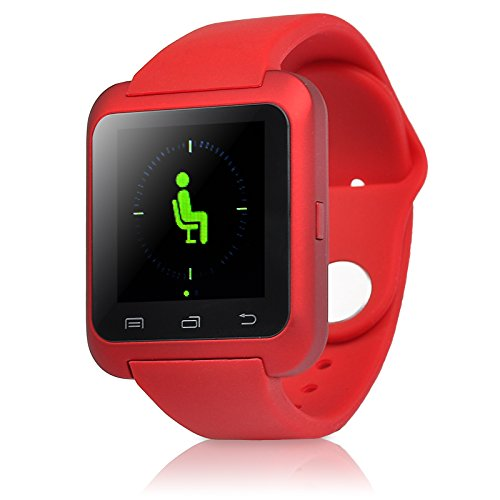 5ive® U80 Bluetooth 4.0 Smart Watch Wrist Wrap Watch Phone for Android Samsung S2/S3/S4/S5/S6Note 2/Note 3/Note 4/HTC Part Function for iPhone (Red)