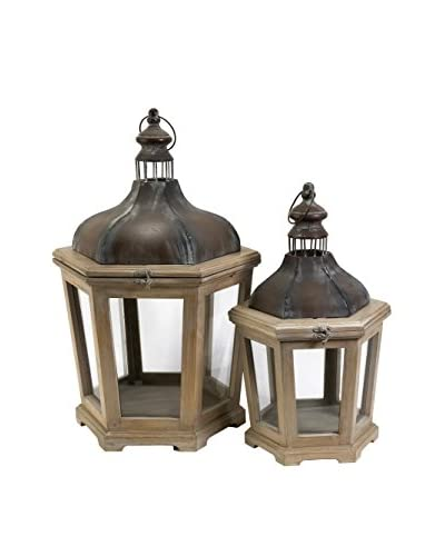 Set of 2 Pomeroy Wood & Metal Lanterns