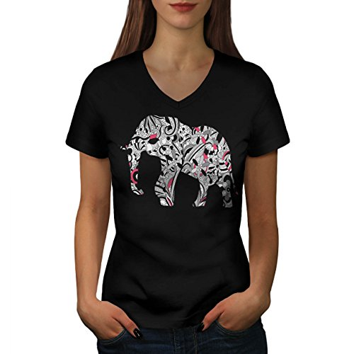 flower-power-elephant-crazy-print-women-new-black-xl-v-neck-t-shirt-wellcoda