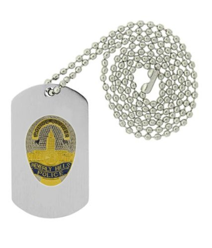 Military Emblem Dog Tag W/ Metal Chain Necklace - Law Enforcement Pin Collector Series - Police Badge Pins - Beverly Hills, Ca