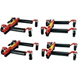 "Quantity 4 - Hydraulic Car Wheel Dolly Positioning Jack easily move Vehicle 1500 lb 13.5"" Wide 12"" Tires Hoist"