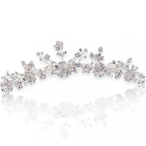 Bling Jewelry Bridal Rhinestones Flower & Leaves Tiara Comb