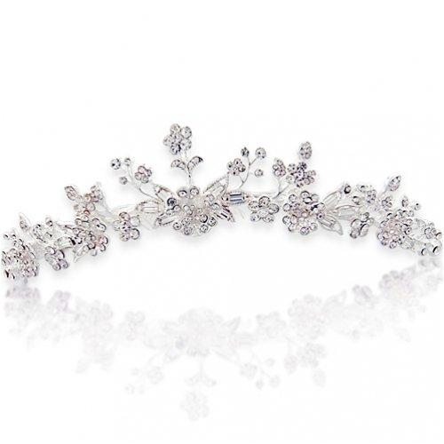 Bling Jewelry Bridal Rhinestones Flower & Leaves Tiara Comb