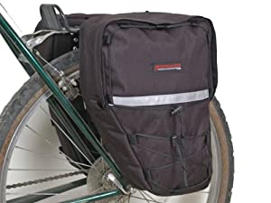Bushwhacker Moab Black - Bicycle Rear / Front Pannier Cycling Rack Pack Bike Bag - w/ Reflective Trim - Sold as Pair
