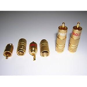 2 Stück High End Cinch Stecker 3-fach vergoldet, zum verlöten