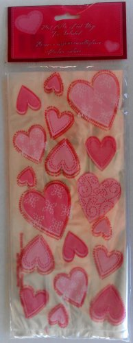 25pcs Clear Pink & Red Hearts Flat Cello/Cellophane/Loot Treat Bag 11.5 x 5 inch