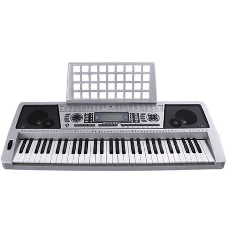 Lcd 61 Key Midi Silver Electric Keyboard Music Digital Personal Electronic Piano
