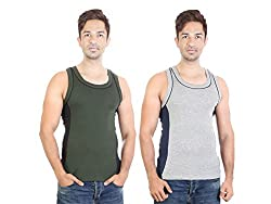Bodysense Grey & Green Men's Cotton Gym Vest ( Pack of 2 )