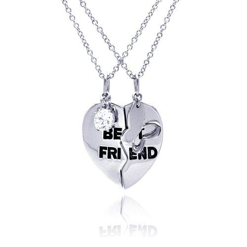 Nickel Free Silver Necklaces Broken Best Friend Heart Necklace
