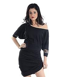 VeaKupia Women's Asymmetric Regular Fit Dress (Black, 36)