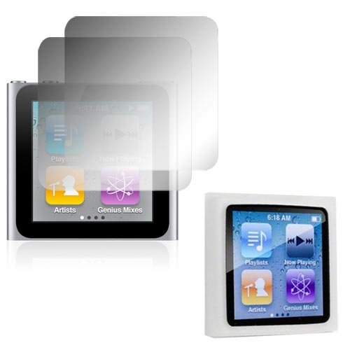 Skque Transparente Silikon Tasche Skin + 2er Pack LCD Crystal Clear Displayschutzfolie für Apple Ipod Nano 6G