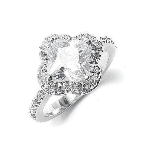 Designer Faceted CZ Clover Bridal or Cocktail Ring 6