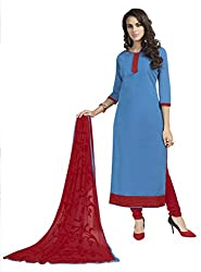 Khoobee Presents South Cotton Dress Material(Blue,Red)