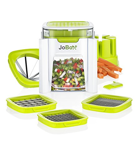 4 in 1 Vegetable Chopper, French fry cutter - Dice, Mince, Slice & Cube Fruits, Meats, Cheese & More, with 4 Stainless Steel Interchangeable Blades - Machine Washable - By Jobox (Fry Onion compare prices)