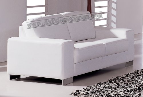 Buy Low Price ModernLineFurniture Modern Contemporary White Leather Loveseat (802WL)
