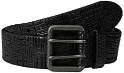 Buffalo Men's Textured Jean Belt with Roller Buckle, Black, Small