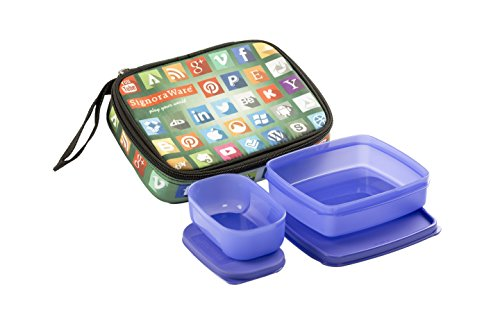 Signoraware Network Twin Smart Lunch Box Set, 2 Pieces, Deep Violet