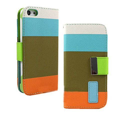 Mylife (Tm) Fern Green + Brilliant Blue And Orange Stripes {Modern Design} Faux Leather (Card, Cash And Id Holder + Magnetic Closing + Hand Strap) Slim Wallet For The Iphone 5C Smartphone By Apple (External Textured Synthetic Leather With Magnetic Clip +