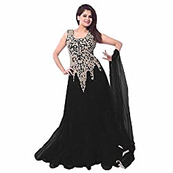 Clickedia Women Soft Net Black Embroidered Gown