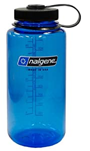 Nalgene Tritan Wide Mouth BPA-Free Water Bottle, 1-Quart, Slate Blue with Black Lid