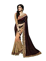 SareeShop Women's Designer Latest Cream Embroidered Laced Party Wear Saree With Matching Blouse(ND1002_Cream_Free Size)