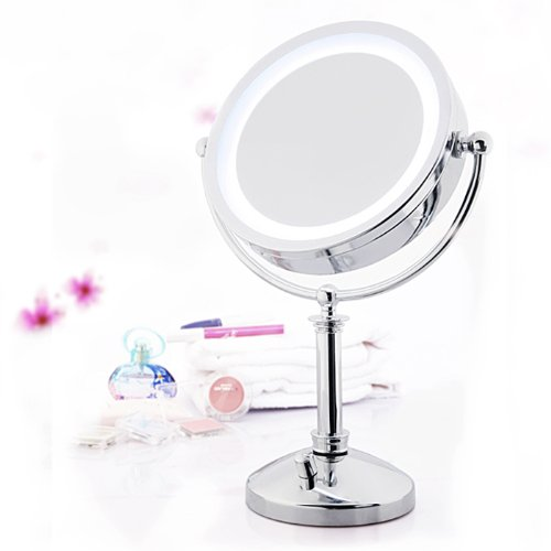 "E-ware 9K010B6 Double-sided 1x/10x Table Top LED Lighted Makeup Mirror, 8"", Mental with Satin Nickel Finish,light control Twist"