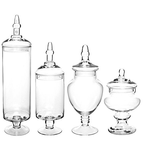 Set of large classic clear glass lid apothecary jars