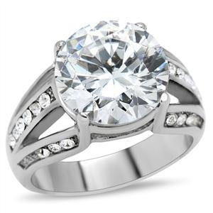 ENGAGEMENT RING - High Polished Stainless Steel Split Ring with Big Clear Round and Cushion Cut CZ in Prong Setting