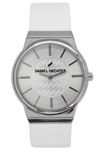 Daniel Hechter-DHD BB - 001/Women's Quartz Analogue Watch-White Leather Strap Silver Dial
