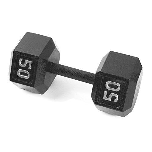 CAP Barbell Cast Iron Hex Dumbbell, Black, Single, 50 lb