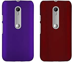 Universal Deals Combo of 2 Pieces Rubberized Matte Hard Back Case Cover For Motorola Moto G3 (Purple & Red)