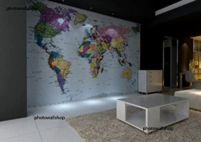 World Map Wall Mural Designer Photo Wallpaper 270cm X 188cm from Photowall Shop