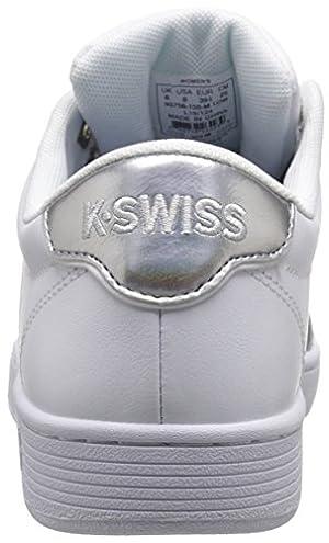 K-SWISS Women's Court Pro II CMF Metallic Athletic Shoe, White/Silver, 9 M US