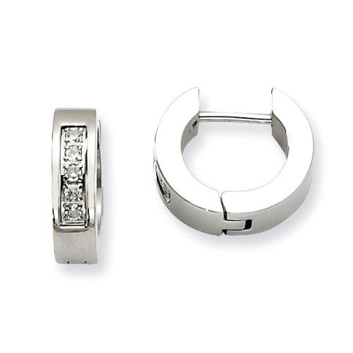 Stainless Steel CZ Polished Round Hinged Hoop Earrings - JewelryWeb