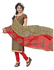 Inddus Women Brown & Red Colored Cotton Blend Dress Material