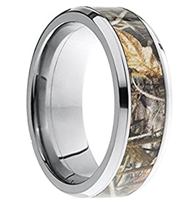 King Will Camouflage Hunting Mens Tungsten Ring Camo Step Edge Polished Band