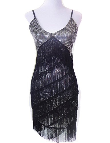 PrettyGuide Women V Neck Deco Gatsby 1920s Sequins Fringe Sway Flapper Dress
