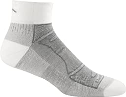 Darn Tough Vermont Men's 1/4 Merino Wool Sock Light Cushion Athletic Socks, White/Gray, X-Large