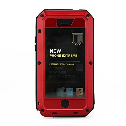 iPhone 5S Case,Gorilla Glass Luxury Aluminum Alloy Protective Metal Extreme Shockproof Military Bumper Heavy Duty Cover Shell Case Skin Protector for Apple iPhone 5/5S (Red) (Protective Iphone 5s Glass compare prices)