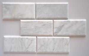 quality beveled subway tile   Bianco Venatino Marble 4X8 Deep - Beveled & Honed Subway ...