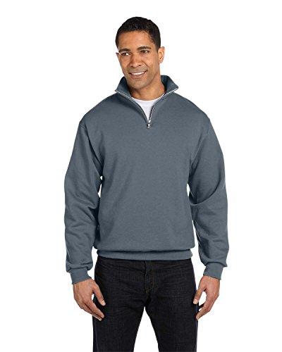 Jerzees Men's Quarter-Zip Cadet Collar Pullover Sweatshirt_Charcoal Grey_Large
