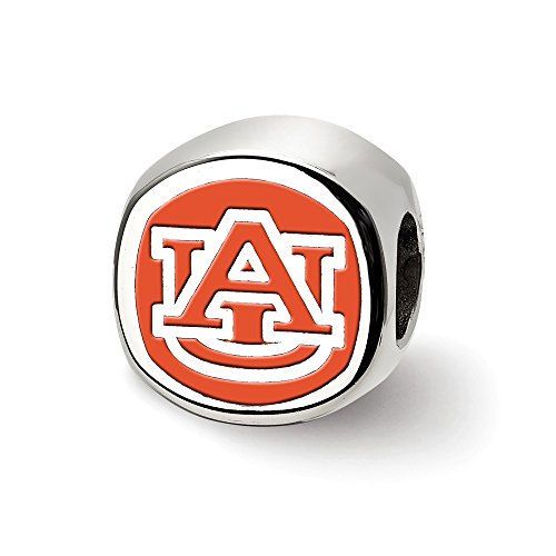 Sterling Silver LogoArt Official Licensed Collegiate Auburn University (AU) Primary Cushion Shaped Logo Bead