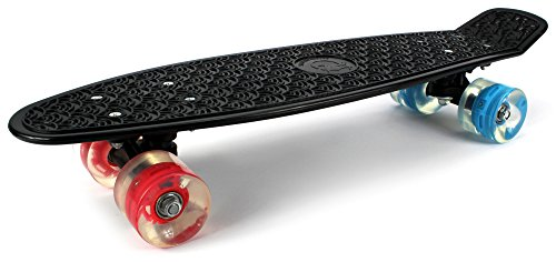 "Boardwalk Cruiser Complete 22"" Inch Banana Skateboard w/ Light Up Wheels, High Quality Bushings, ABEC-5 Bearings (Black)"