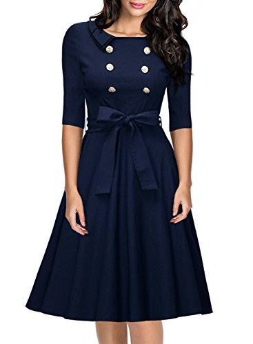 Miusol-Womens-Vintage-34-Sleeve-Navy-Style-Belted-Retro-Evening-Dress