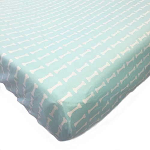 One Grace Place Puppy Pal Boy Crib Sheet, Powder Blue and White