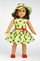 Ladybug - Summer Dress with Hat and Red Shoes - Clothing for 18 inch Dolls